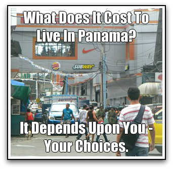 Street scene with Text about Cost of Living In Panama