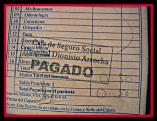 receipt for 50 cent visit to emergency room in Panama