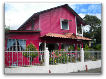 Hot Pink woodenHouse with flowers and white cement fence