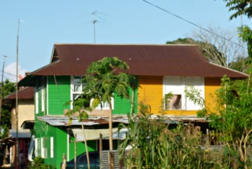 Side-by-side duplex. half painted bright green, half bright yellow