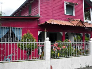Bright pink house located in the Carmen Neighborhood