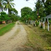 well maintained dirt road in front of house