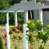 White fence posts, yard, unfinished cement house
