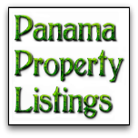 Square button with words, Panama Property Listings, on it.