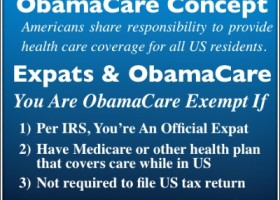 Blue Box with white text explaining the Concept of ObamaCare & Expat Exemptions