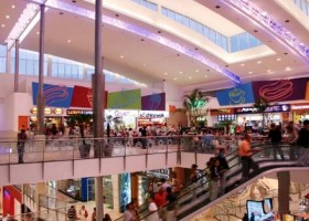 Escalators and food court of Mall in panama