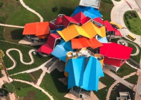 Arial view of Panama City's new BioMuseo